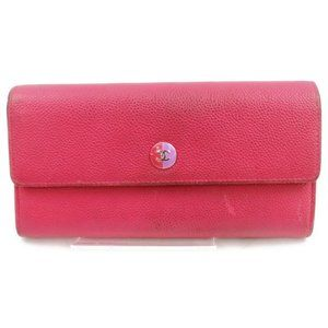 Auth Chanel Long Wallet Pink Leather #5097C14